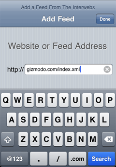 type the address of the feed.